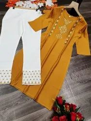 14 KG Reyon Party Wear Embroidered Kurti With Plazzo, Wash Care: Machine Wash