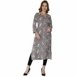 Cotton Casual Wear Women Rayon Print Long Kurta, Size: S, Wash Care: Machine wash