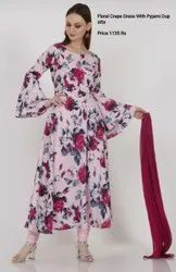 Floral Crepe Dress With Pyjami Dupatta