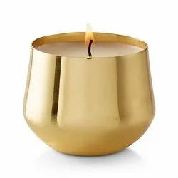 Golden Round Gold Plated Metal Candles