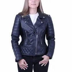 Handmade Women's Black Front Zipper Biker Jacket With High Shawl Collar