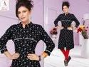 Straight 3/4th Sleeve Designer Shirt Style Kurti With Piping