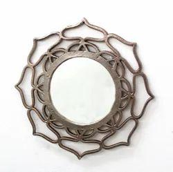 Aluminium,Glass & Mdf Vintage Wall Mirror, Mirror Shape: Round