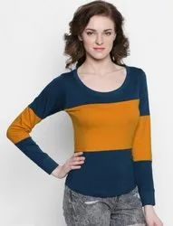 Navy Blue,Yellow Girls Cotton Full Sleeves Top