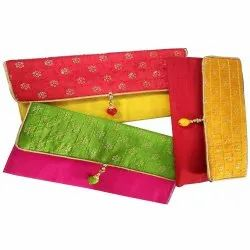 Cotton Yellow, Red and Pink Designer Handmade Shagun Envelope, For Party Wear