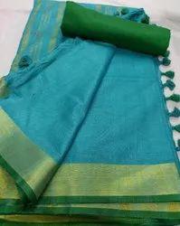 Casual Plain Cotton Linen Saree, 5.5 m (Separate Blouse Piece)