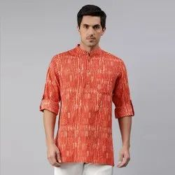 Janasya Men's Orange Cotton Kurta(MEN5014)