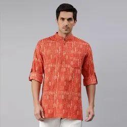 Casual Striped Janasya Men's Orange Cotton Kurta(MEN5014), Mandarin Collar