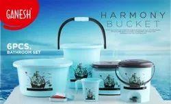 Plastic Bathroom Set, Quantity Per Pack: 6 Pcs
