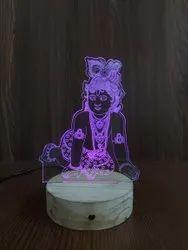 Shayona Load Krishna Multi Color 3D  Illusion LED  Acrylic Table Top Night Lam