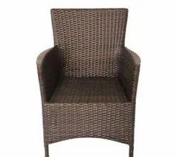 Plastic Dark Brown Medium Back Garden Chair