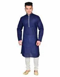 Navy Casual Men Cotton Pathani Suit, Mandarin Collar