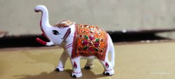 Meenakari Elephant Statue with White Colour and Ambose