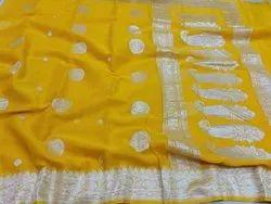 6 m (with blouse piece) Yellow,Silver Banarsi Handloom Pure Khaddi Georgette Silk Saree