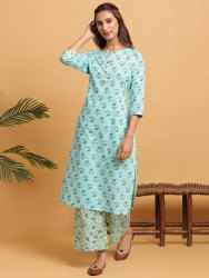 Janasya Women's Turquoise Cotton Kurta With Palazzo(SET261)