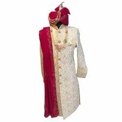 White Embroidered Traditional Wedding Sherwani