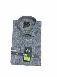 Plain Collar Neck Mens Grey Flex Linen Formal Shirt, Handwash