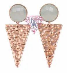 925 Sterling Silver Aqua Chalcedony Stud Earring