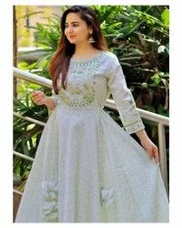 white Printed Party Wear Gowns, Age Group: 19 To 40
