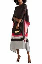 Lounge Wear Calf Length Printed Satin Silk Tunic Kaftan