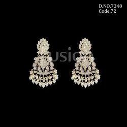 Fusion Arts Kundan Pearl Chandbali Earrings