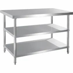 Standard Silver SS Working Table, For Restaurant, Size: 2x4x34 Inch