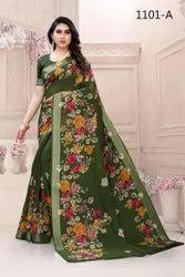 Linen Saree Beautiful Mill Print Saree-4 Pcs