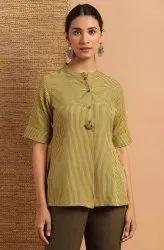 Janasya Women's Olive Rayon Top(J0116)