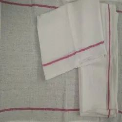 Plain White and Red Two Stripe Kitchen Towel, 100 Gm