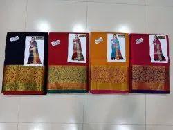 Chanderi Cotton Heavy Border Saree With Blouse