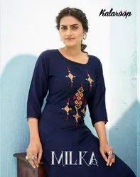 Kalaroop Milka Rayon With Fancy Embroidery Work Kurti With Plazzo Catalog