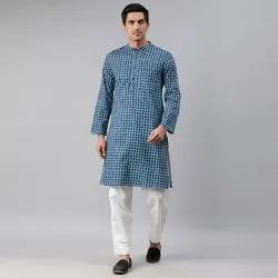 Janasya Men's Blue Cotton Kurta (MEN5001)