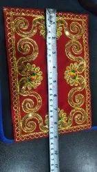 Polyester 54-Flock Fabrics Velvet SQ Quality for Aashan, Plain/Solids, Red