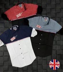 Men Collar Neck Casual Wear Cotton Plain Shirt, Machine wash