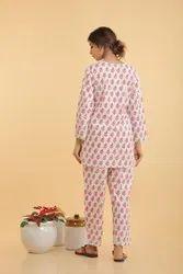 Madamita White Short Kurti & Pajama Set, Size: S:m:l:xl