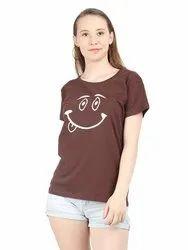 Smiley Print Brown Women T Shirt