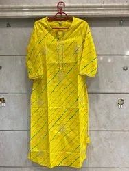 Yellow Hand Embroidery Ladies Cotton Embroidered Straight Kurti