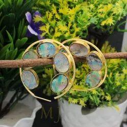 Stone Brass Earring