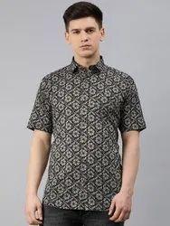 Printed Collar Neck Millennial Men Navy Blue Cotton Short Sleeves Shirts For Men, Handwash, Size: 38-50