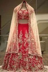 Silk Embroidery Red Bridal Wear Malay Satin Lehenga Choli