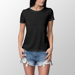Half Sleeve Round Ladies Black T Shirt