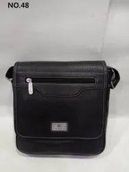 Plain Black Men Small Leather Messenger Bag, Size: 10 '' H X 10 '' W X 4 '' D