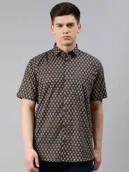 Printed Grey Millennial Men Gray Cotton Short Sleeves Shirts For Men, Handwash, Size: 38-50