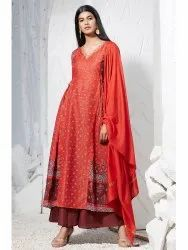 Janasya Women's Orange Poly Muslin Kurta With Palazzo and Dupatta(J0237)