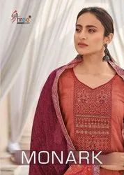 Shree Fabs Monark Cotton Print With Embroidery work Dress Material Catalog