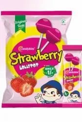 Candybite Pink Strawberry Round Lollipop, Packaging Type: Packet, Packaging Size: 30 Packets