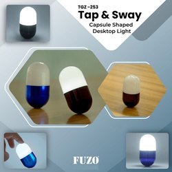 Premium Aluminum Base TGZ253 Tap N Sway Capsule Shaped Desktop Light, Lighting Color: Pure White