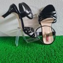 Black Pencil Heel Sandals Cross Strap Pattern