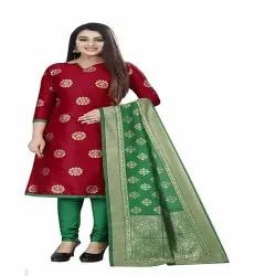 Rayon Stitched Ladies Printed Churidar Suit, Machine wash