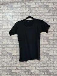 Half Sleeve Daily Wear Black Ladies Round Neck Plain T Shirt
